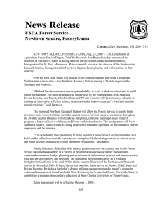 News Release  USDA Forest Service Newtown Square, Pennsylvania
