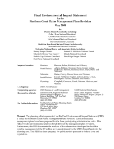 Final Environmental Impact Statement Northern Great Plains Management Plans Revision May 2001