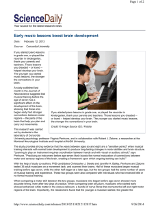 Early music lessons boost brain development Page 1 of 2