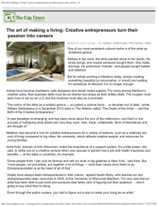 The art of making a living: Creative entrepreneurs turn their
