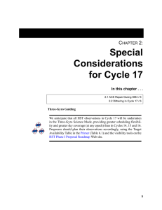 Special Considerations for Cycle 17 C