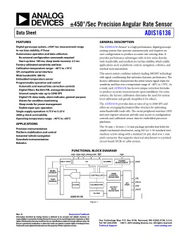 ±450°/Sec Precision Angular Rate Sensor ADIS16136 Data Sheet