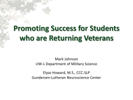 Promoting Success for Students who are Returning Veterans