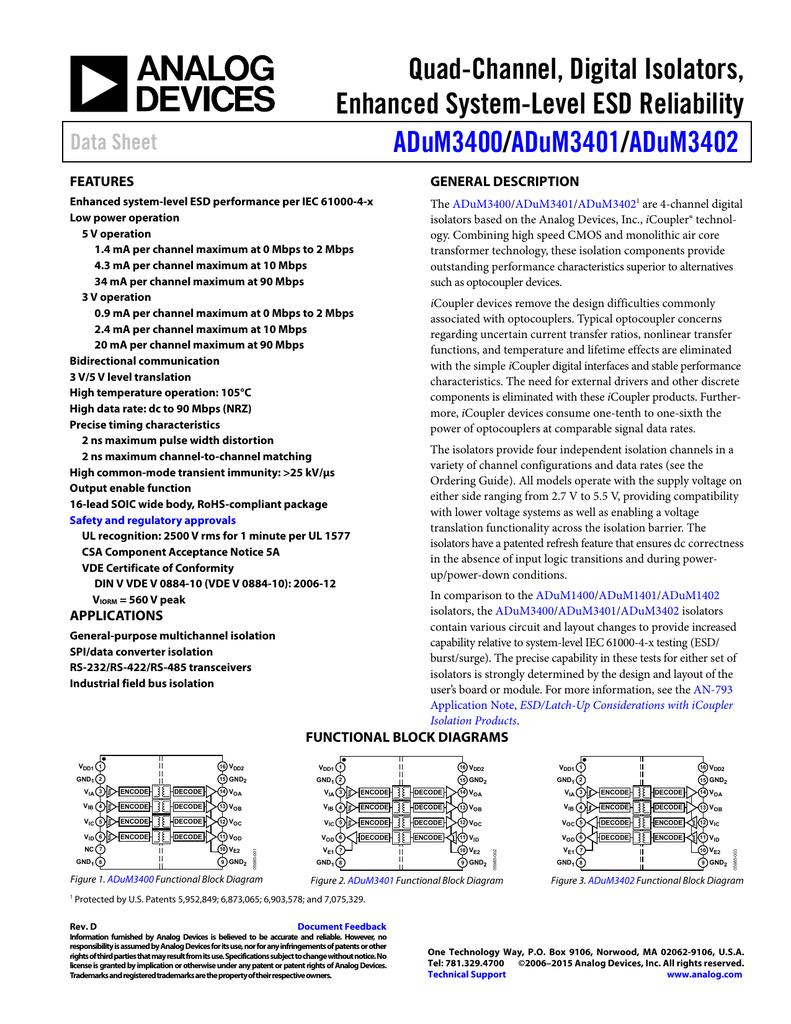 Quad Channel Digital Isolators Enhanced System Level Esd Reliability Block Diagram 2 Out Of 3 Adum3400