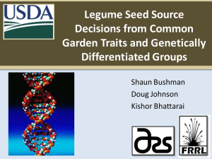 Legume Seed Source Decisions from Common Garden Traits and Genetically Differentiated Groups