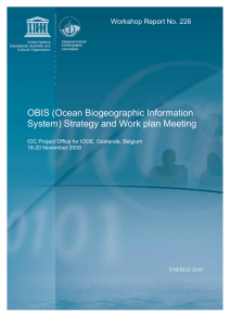 OBIS (Ocean Biogeographic Information System) Strategy and Work plan Meeting