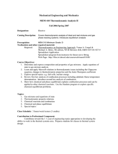 Mechanical Engineering and Mechanics  MEM 410 Thermodynamic Analysis II Fall 2006/Spring 2007