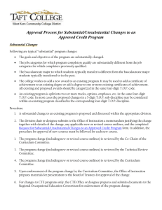 Approval Process for Substantial/Unsubstantial Changes to an Approved Credit Program