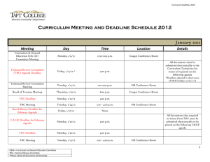 Curriculum Meeting and Deadline Schedule 2012 January 2012  Meeting