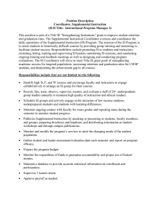 Position Description Coordinator, Supplemental Instruction (H-H Title:  Instructional Program Manager I)