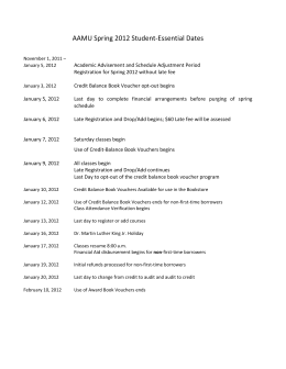 AAMU Spring 2012 Student‐Essential Dates