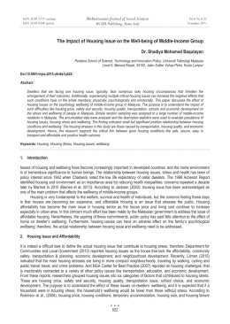 The Impact of Housing Issue on the Well-being of Middle-Income Group Mediterranean Journal of Social Sciences Dr. Shadiya Mohamed Baqutayan MCSER Publishing, Rome-Italy