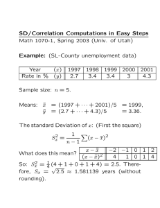 SD/Correlation Computations in Easy Steps Example: Year