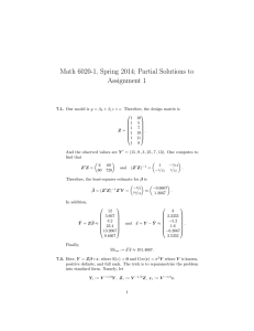 Math 6020-1, Spring 2014; Partial Solutions to Assignment 1