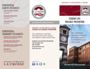 student Life- VioLence preVention confidentiaL caMpus resources