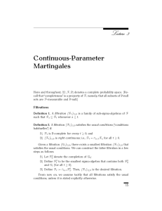 Continuous-Parameter Martingales Filtrations