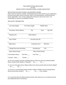 THE CONSITITUTION AND BYLAWS OF THE SHELBY COUNTY TRAINING SCHOOL ALUMNI ASSOCIATION