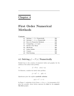 First Order Numerical Methods Chapter 4 Contents