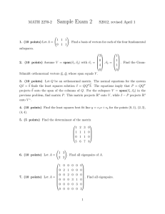 Sample Exam 2 MATH 2270-2 S2012, revised April 1