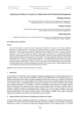 Intrapersonal Ɍonflict of a Teacher as a Determinant of his... Mediterranean Journal of Social Sciences Mergalyas Kashapov MCSER Publishing, Rome-Italy