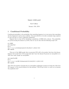 Math 1180:Lab2 1 Conditional Probability Kyle Gaffney