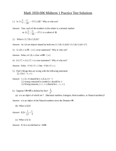 Math 1050-006 Midterm 1 Practice Test Solutions