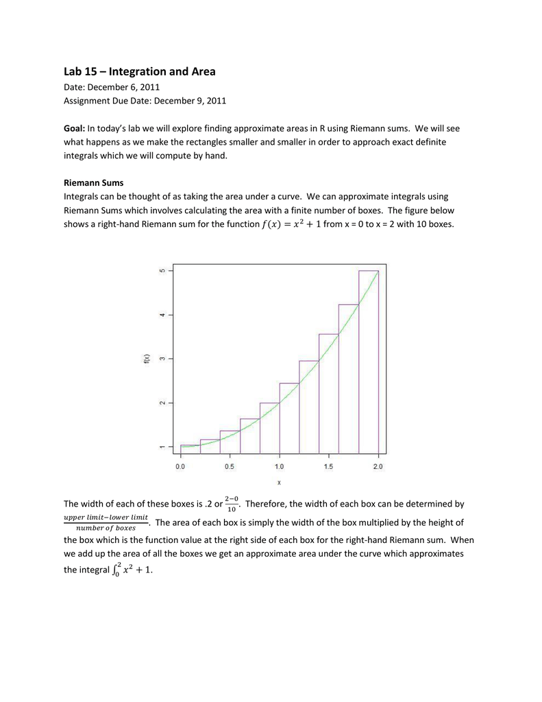 Lab 15 Integration and Area – Riemann Sum Worksheet