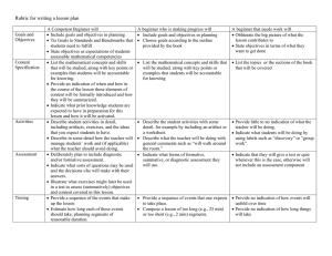 Rubric for writing a lesson plan