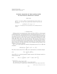 PACKING MEASURE OF THE SAMPLE PATHS OF FRACTIONAL BROWNIAN MOTION 1. Introduction
