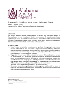 Procedure 7.1: Residency Requirements for In-State Tuition