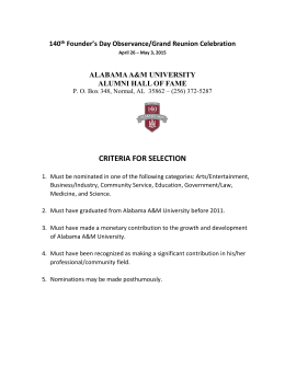 CRITERIA FOR SELECTION 140 Founder's Day Observance/Grand Reunion Celebration