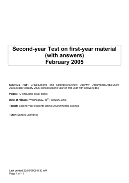 Second-year Test on first-year material (with answers) February 2005