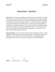 Final Exam: Calculus I