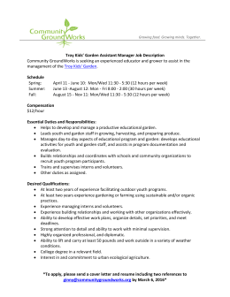 Troy Kids' Garden Assistant Manager Job Description Schedule e