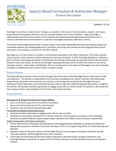 Inquiry-Based Curriculum & Instruction Manager Position Description Updated 1.25.16