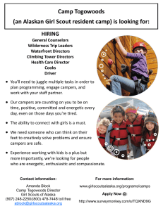 Camp Togowoods (an Alaskan Girl Scout resident camp) is looking for: HIRING
