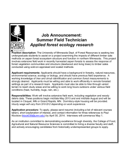 Job Announcement: Summer Field Technician Applied forest ecology research