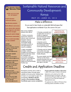 Sustainable Natural Resources and Community Development: Kenya Make a difference.