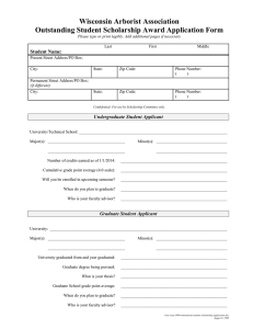 Wisconsin Arborist Association Outstanding Student Scholarship Award Application Form  Student Name: