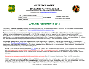 OUTREACH NOTICE LOS PADRES NATIONAL FOREST APPLY BY FEBRUARY 12, 2014