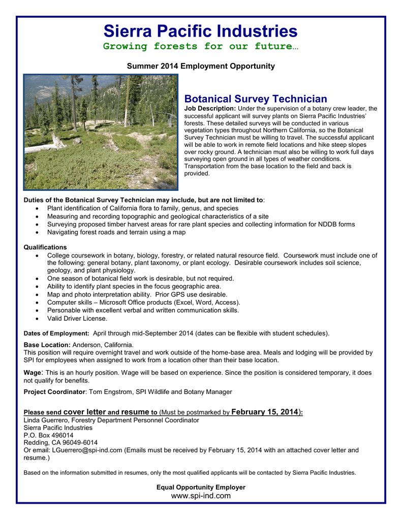 Sierra Pacific Industries Growing forests for our future… Botanical ...