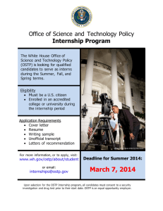 Office of Science and  Technology Policy Internship Program