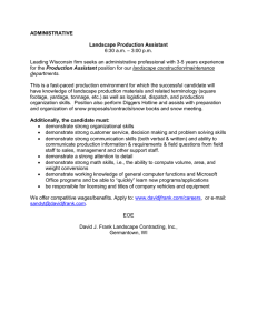ADMINISTRATIVE Landscape Production Assistant  – 3:00 p.m.