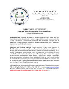 W A S H B U R N  ... EMPLOYMENT OPPORTUNITY Land and Water Conservation Department Intern