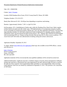 Wisconsin Department of Natural Resources Employment Announcement  Title: LTE - FORESTER