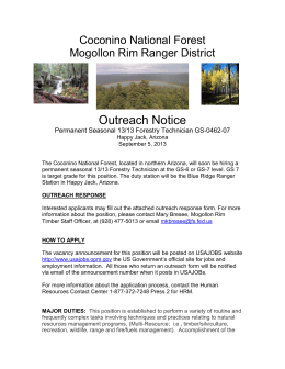 Outreach Notice Coconino National Forest Mogollon Rim Ranger District