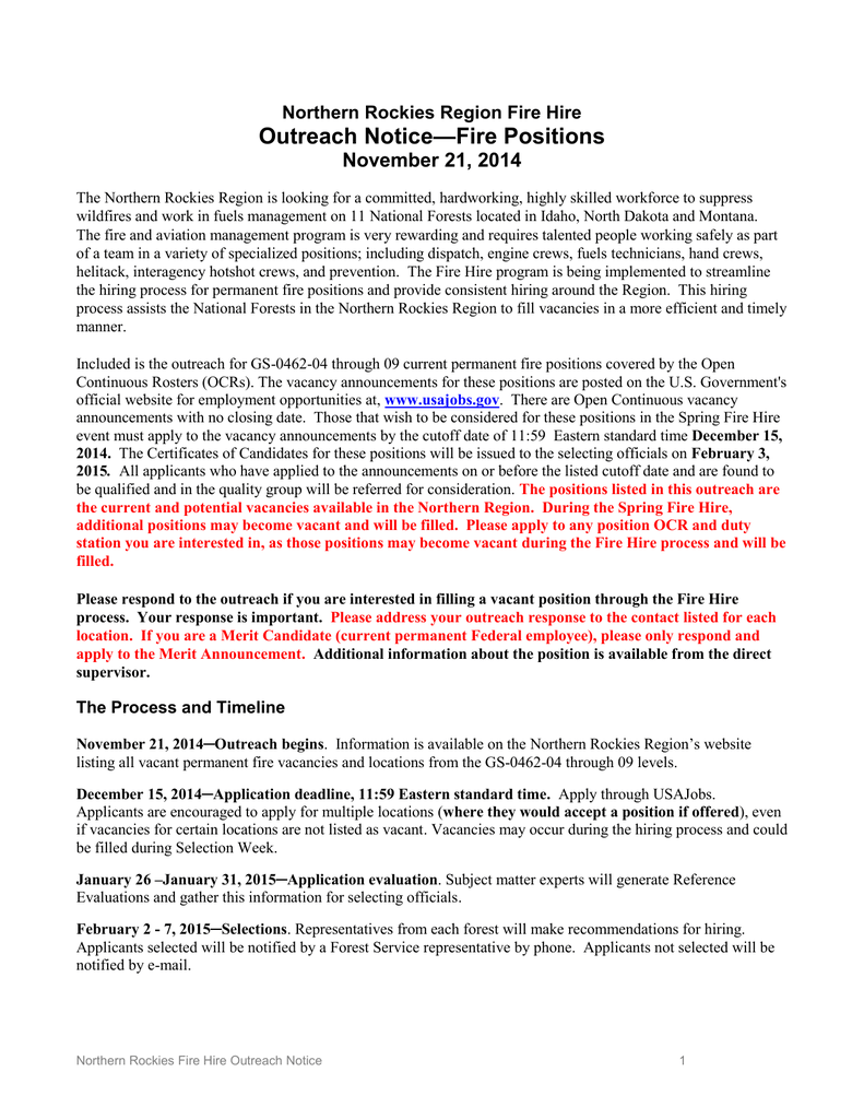 Outreach Notice—Fire Positions November 21, 2014 Northern Rockies