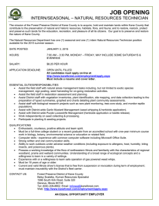 JOB OPENING INTERN/SEASONAL – NATURAL RESOURCES TECHNICIAN