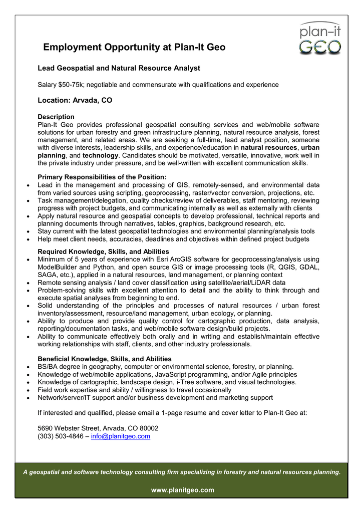 Employment Opportunity At Plan It Geo Lead Geospatial And Natural Resource  Analyst