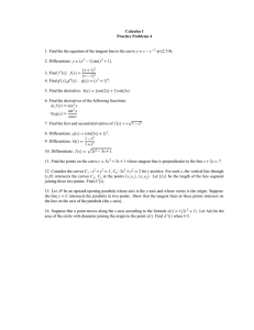 Calculus I Practice Problems 4 y at (2,7/4).